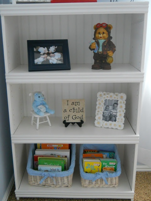 Update a laminate book shelf with bead board backing