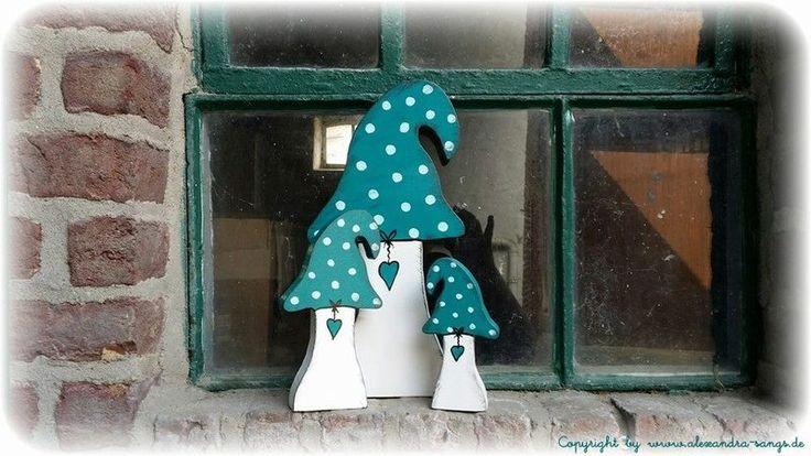 3 Pilze, Holz, Fliegenpilz, Pilz, selbststehend von Handgemachte Holzarbeiten & dekorative Geschenke by Alexandra Sangs auf DaWanda.com