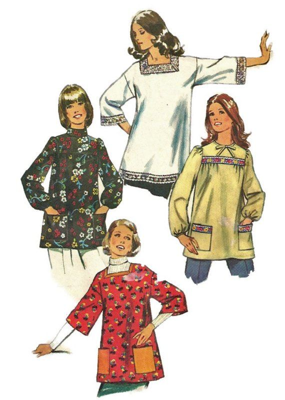 1970s  Simplicity 5369 Misses Maternity Smock Top by mbchills