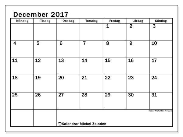 Kalender för att skriva ut december 2017 - Tiberius