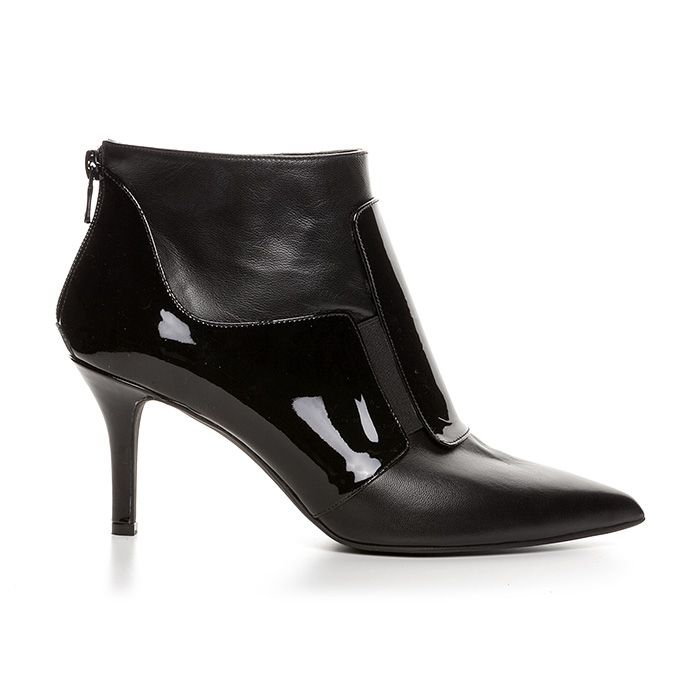 71407_BLACK LEATHER www.mourtzi.com #mourtzi #booties #ankleboots #patent #elegance #classy #instyle #midheels