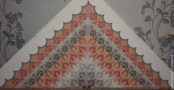 Купить Шаль Серая шейка вязаная спицами из 100% шерсти - серый, коричневый, рыжий, желтый
