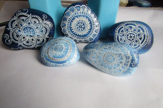 5 Handpainted mandala stones, set of 5 painted rocks, Zen decor, good energy stones, home decor, pebble art