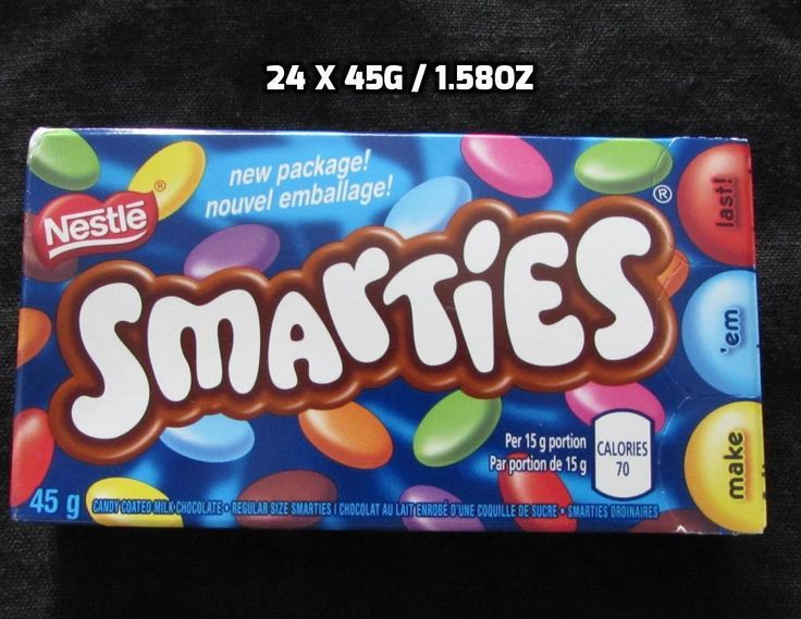 24 x 45g / 1.58 oz Smarties Guarantee Fresh Made in CANADA Free Shipping To USA…