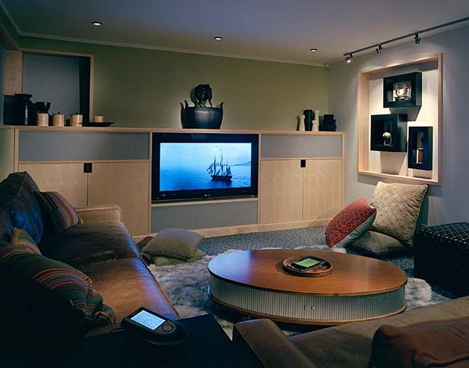 Wonderful Wood House With Stunning Exterior And Interior: Fabulous Modern  Media Room Decor Zipper House Interior Part 98