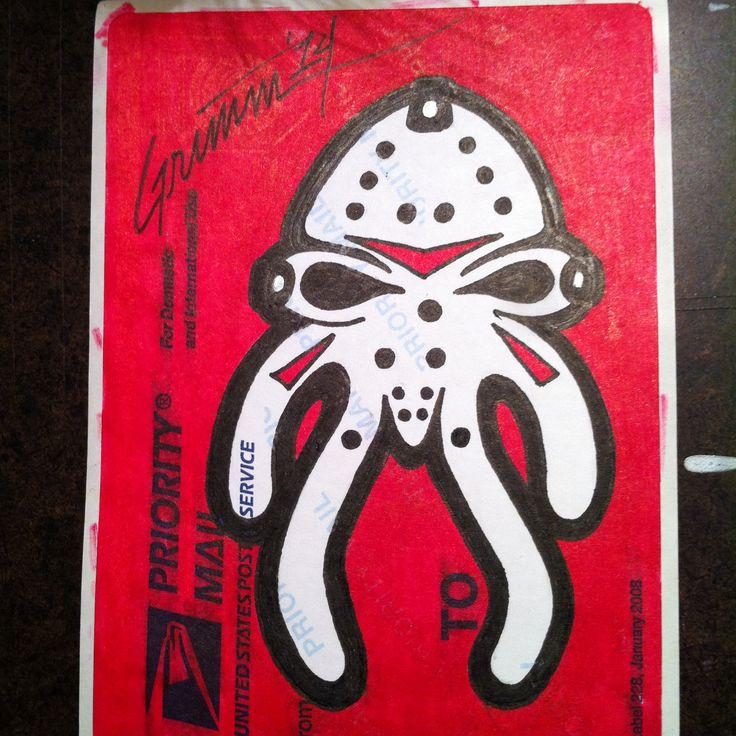Skullyverine theartistgrimm grimm wolverine xmen skullyfish stickerartist stickerart slapartist slaps coolstickers handmade labelart sla