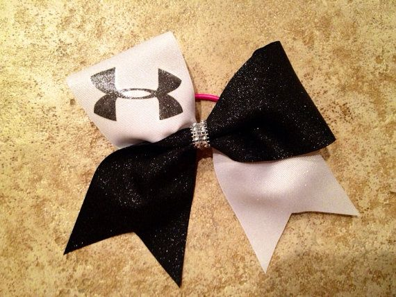 Black And White Cheer Bow handmade athletic by CharmingFeltedFinds, $12.00. Need this. Don't like the only hair alestic though