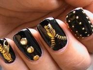 Biker Studded Nails Art Zip #Nails www.finditforweddings.com