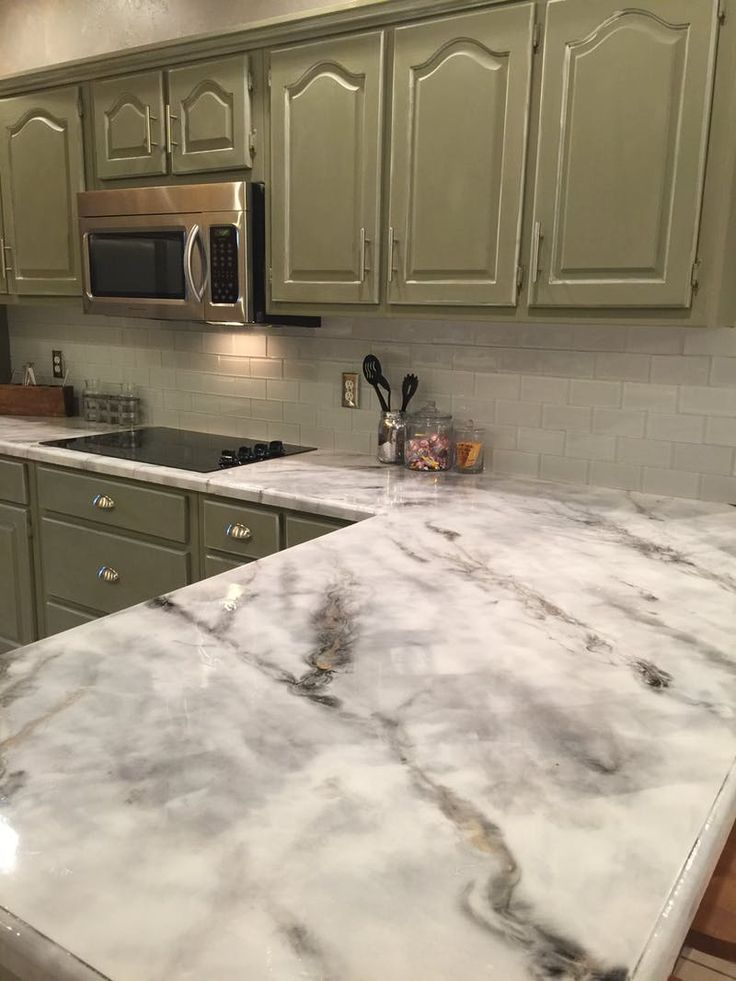 Faux Marble Epoxy Kitchen Countertops Makeover | Apartment Therapy