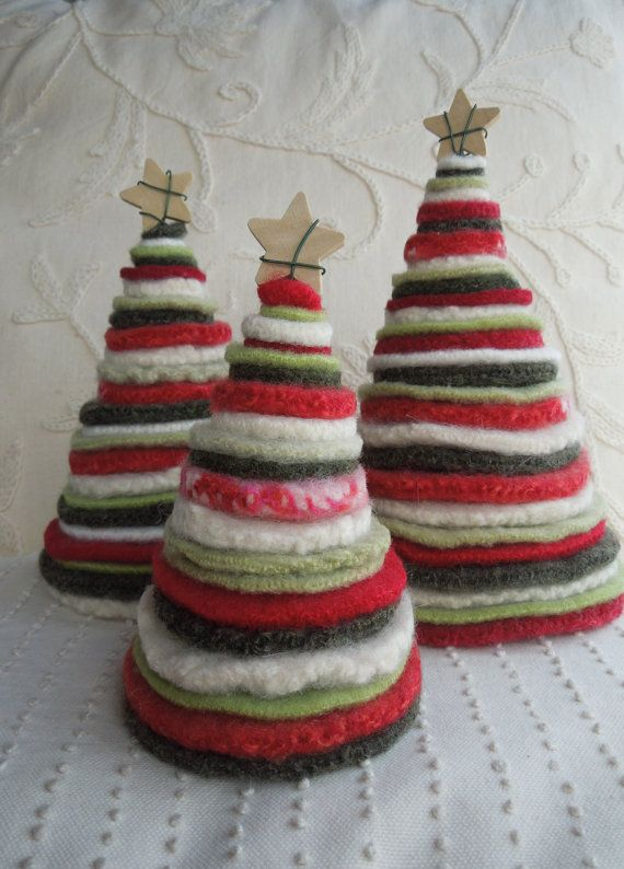 Trees from Recycled Felted Wool Sweaters - Red, White ...