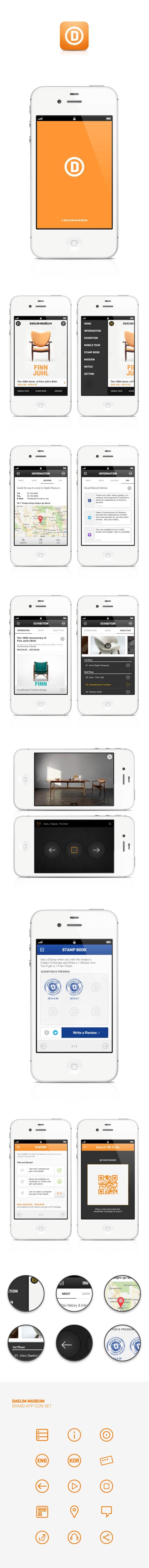 Daelim Museum Mobile App by Jason Jun, via Behance *** Daelim Contemporary Art Museum. Planning, Design and Development by  Blinkfactory, Inc.