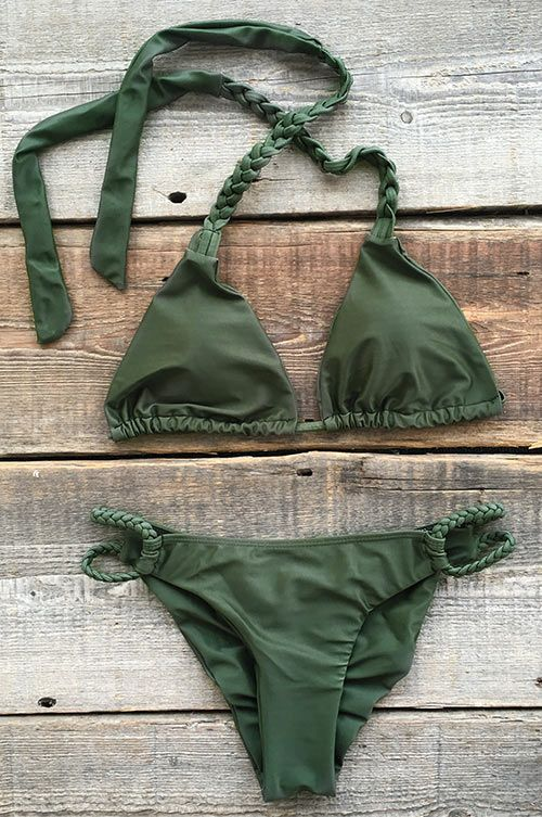 What another hot summer day! Get it, $17.99 Now! Crochet craft and Halter design will make you stand out on the beach. That is Solid Color Halter Bikini Set. Have fun with it!