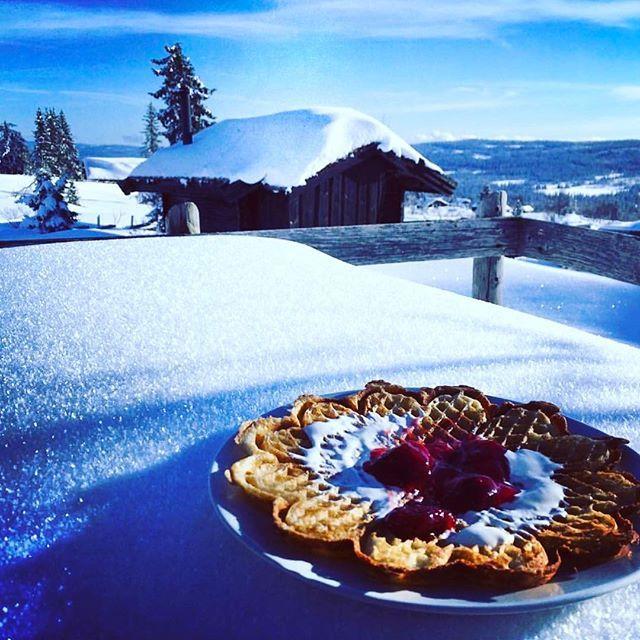 Siste innspurt av vinterferie med kaffe og vaffel på @skeistua 😊👏- den koseligste kaféen på Skeikampen forteller @cathrinemoestue 👏😊Takk for foto, håper det var rømmevaffel, som er spesialiteten i distriktet 😃👍#unikesteder #skeikampen #gausdal #skeistua