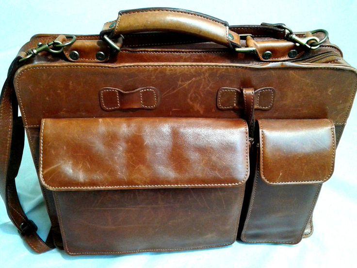 Wilsons Vintage Alla Moda Bellezza Leather Briefcase in Rich Cognac #WilsonsLeather #BriefcaseAttache