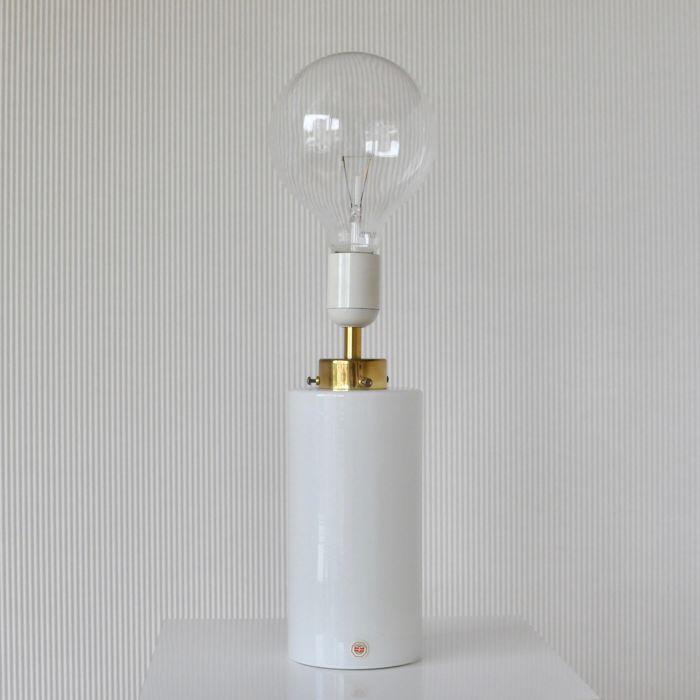 Odreco Dansk Glas Design – White glass and brass table lamp For Sale in London, NETHERLANDS | Preloved