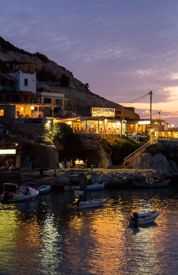 Night in Matala, Crete, Greece