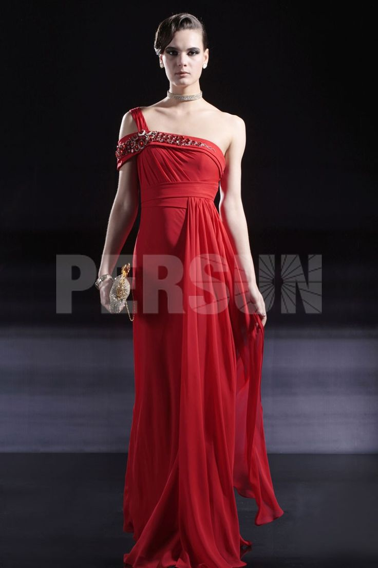 OFF SHOULDER BEAD FLOOR-LENGTH RED CHIFFON DRESS