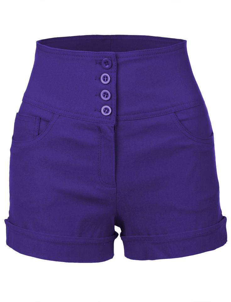 Look cute and stylish in this high waisted sailor shorts with stretch! Pair these shorts with a basic t-shirt and sandals for a casual look. You can't go wrong with this trendy look this summer. Featu