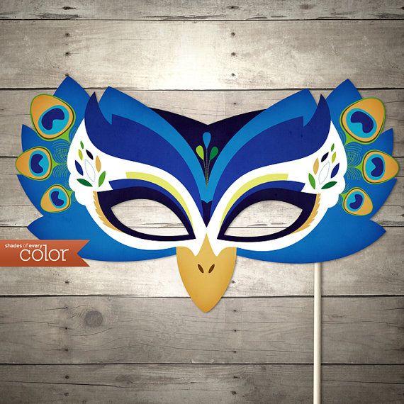 (adorable printables shop!! )DIY Printable Peacock Mask - Birthdays, Halloween, masquerade ball, mardi gras, and weddings