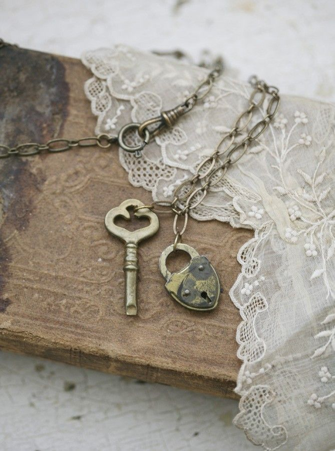Vintage key and heart on a chain