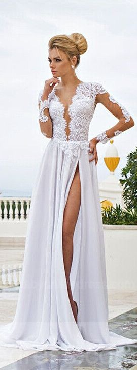 USD$156,White Lace Sexy Prom Gowns 2015 V-Neck Side Slit Long Sleeve Evening Dresses