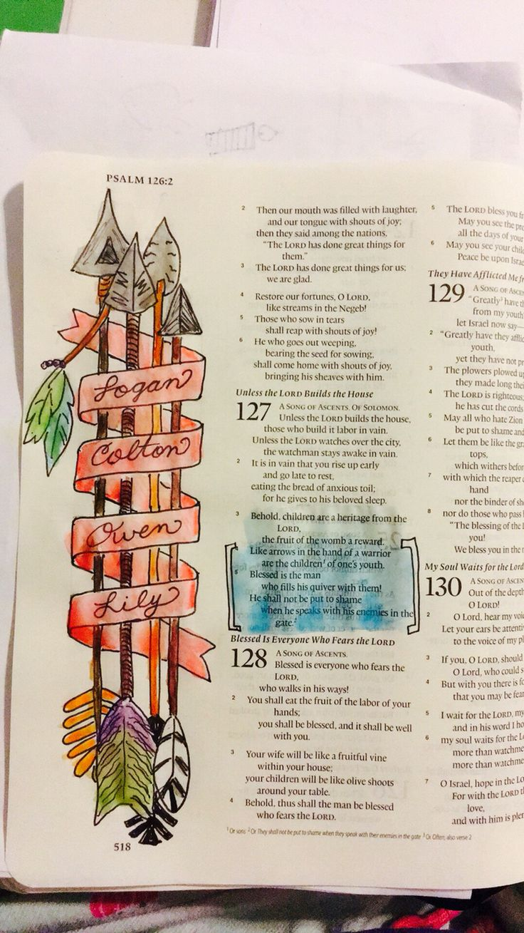 Bible Journaling Psalm 127:3-5  Behold, children are a heritage from the Lord, the fruit of the womb a reward. Like arrows in the hand of a warrior are the children of one's youth. Blessed is the man who fills his quiver with them!