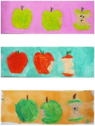Appel tekenen met wasco. Daarna een lichte kleur ecoline gebruiken voor de achtergrond.