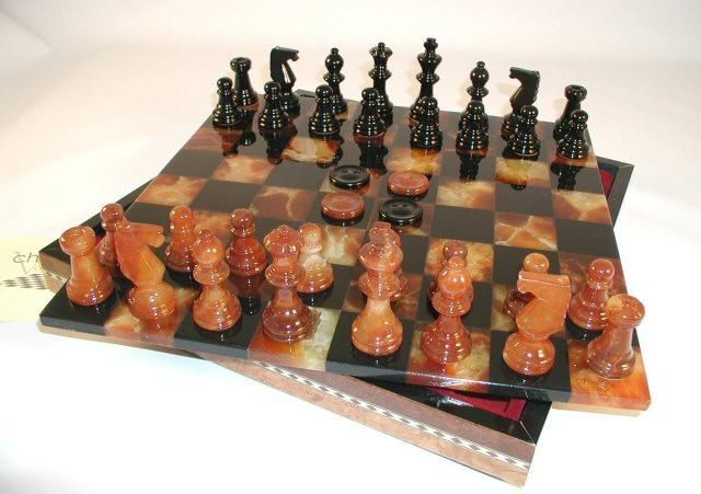 "Alabaster Checkers & Chess Set in Inlaid Wood Chest ""#SOMETHINGFOREVERYONEONYOURLIST ""#wedding #invitations  #dinnerware #cellphones #glassware #party #kitchenware #stylish #games #china,#presents #favors #luxery  #porcelaindinnerware #party #cristal #gifts #ornaments #favors #silkplants  #gourmetgiftboxes #engagement#barware ""#wedgewood #linkinprofile ""#fashion #jewelry"""