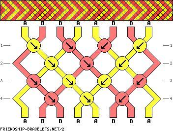 simple chevron diagonal striped friendship bracelet pattern 8 strand 2 color
