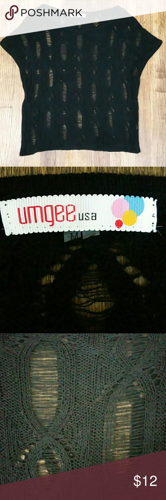 """Umgee black lace boho crochet top size medium Umgee black lace boho style crochet short sleeve top, size medium, in very good used condition.  Armpit to armpit - 19"""" Shoulder to hem - 22"""" Umgee Tops"""