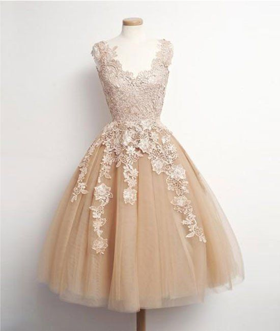 homecoming dresses,champagne tulle lace applique short prom dress, homecoming dress