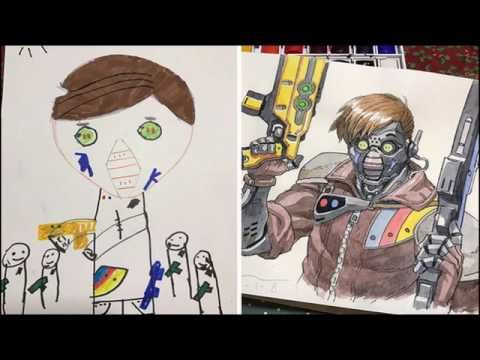 Dad Turns His Sons' Doodles Into Amazing Anime Characters | dad turns hi...