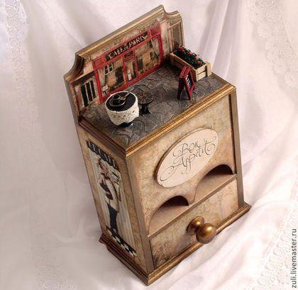 """Чайный домик """"Парижское кафе"""" - бежевый,чайный домик,чайный домик декупаж"""