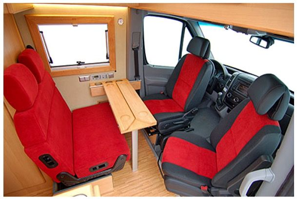 "Mercedes Sprinter ""CS Independent"" camper van with unique folding table & red seats to brighten up interior."
