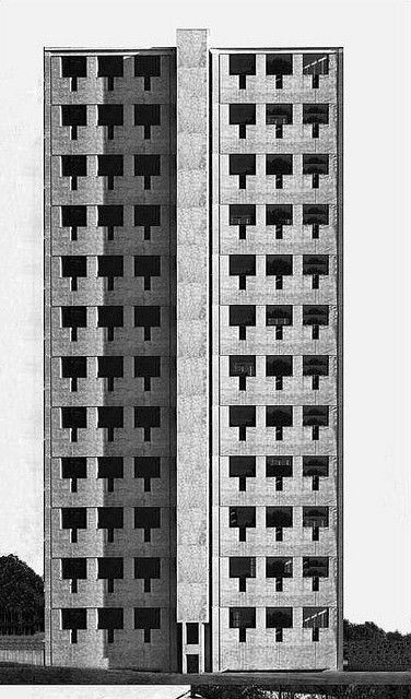 """""""Office Tower in St.. Louis (USA) 1948. Louis Kahn"""". Image by Salvatore Gioitta."""