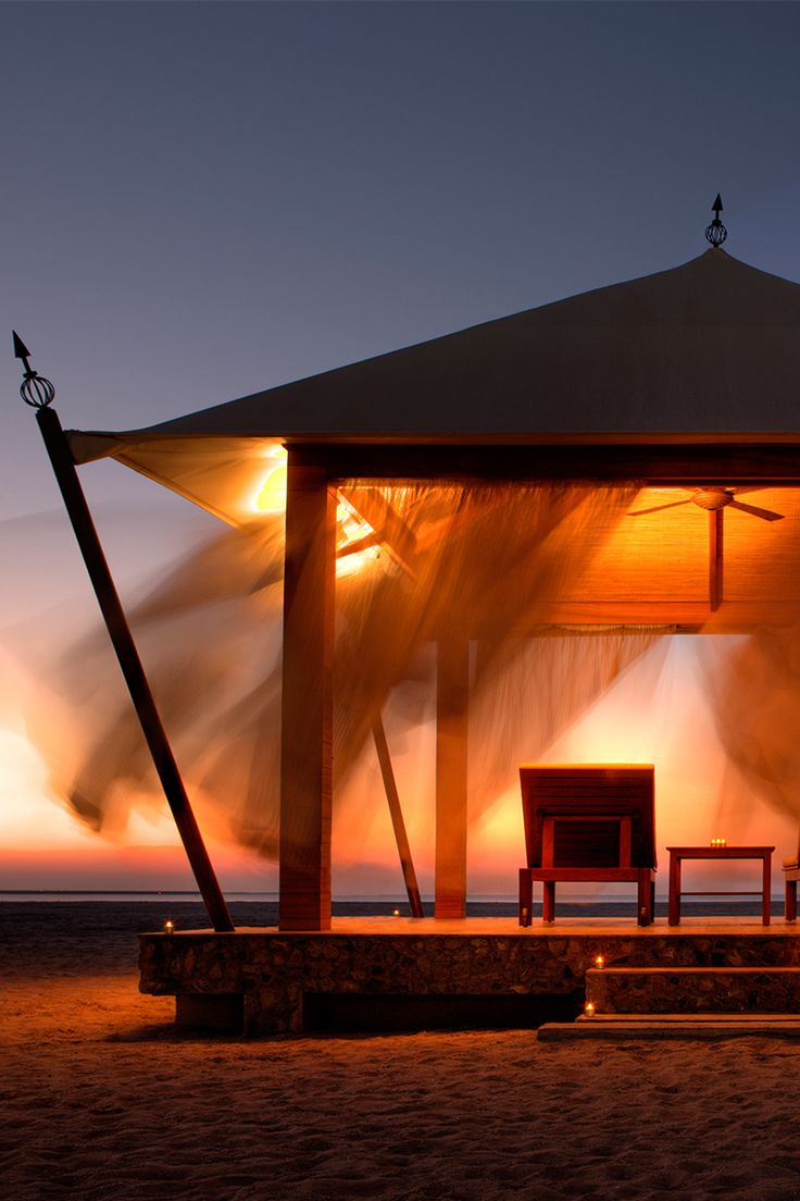 Relax In A Romantic Beach Hut At Night With Lighting