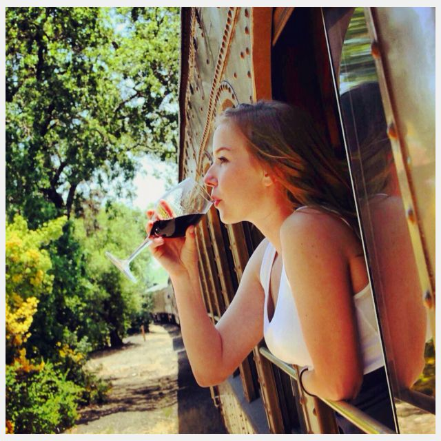 Sonoma County fall leaves, red wine, relaxing on the train . . . what more could you ask for!  #napa #winetrain