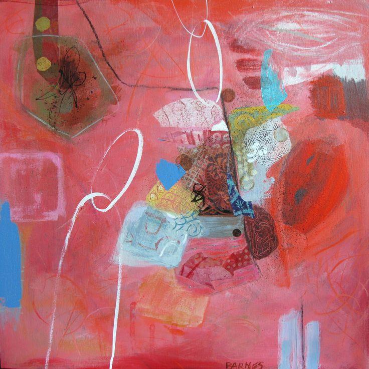 """Tutti Frutti"" Acrylic and collage on cradled board Francoise Barnes"