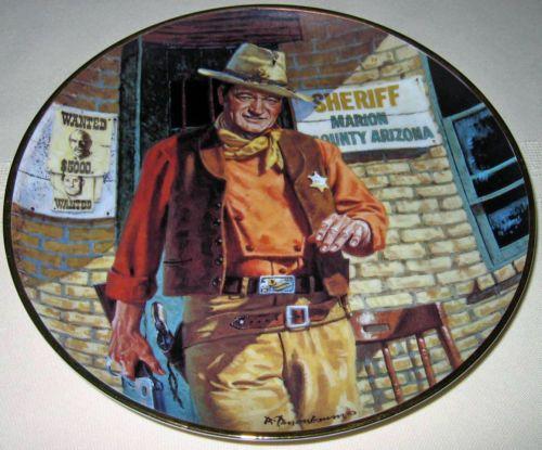 Franklin-Mint-JOHN-WAYNE-AMERICAN-LEGEND-Marion-County-Sheriff-Plate-Bx-COA