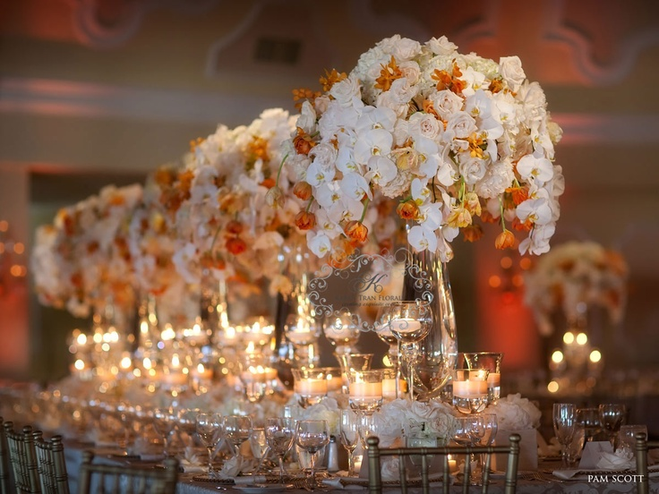 Glamorous Gold White and deep orange table top: Dresses Wedding, White Centerpieces, Floral Centerpieces, Citrus Wedding, Orange Wedding, Cake Wedding, Wedding Flower, Karen Trans, Wedding Tables Sets