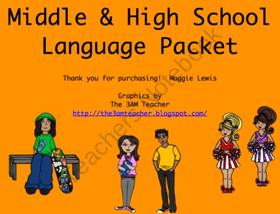 Middle and High School Language from MaggieSLP on TeachersNotebook.com (19 pages)  - Set of assorted language skills appropriate for older students through middle and high school.  Designed for the speech therapy setting.
