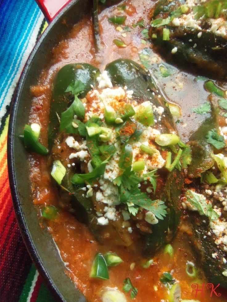 Chiles Rellenos en Salsa (Skillet Stuffed Poblanos in Tomato Salsa) - Hispanic Kitchen. December 2014