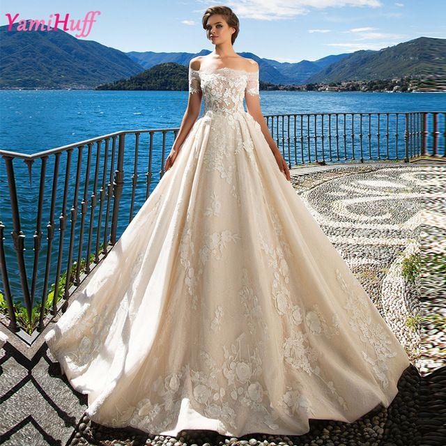 Champagne Princess Wedding Dresses Turkey Boat Neck Sexy Korean Lace Bridal Wedding Gowns Off Shoulder Vestidos de noiva Y64
