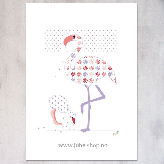Jubel - A3 Poster, Flamingo Mother and Child, 297 x 210 cm matt paper, by Jubelshop on Etsy. www.jubelshop.no