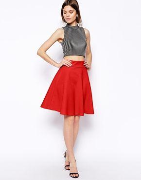 asos knee length circle skirt in scuba 53 pink or