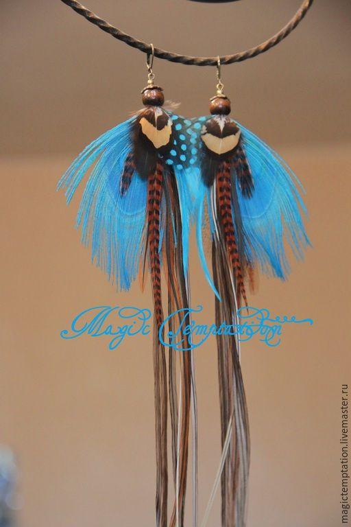 Купить Бирюзовые серьги из перьев павлина. - серьги ручной работы, серьги из перьев, серьги длинные