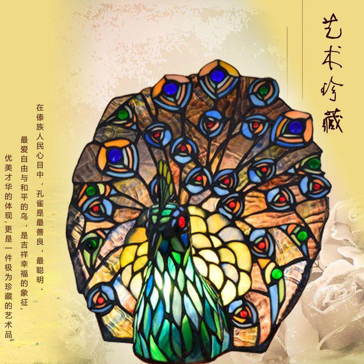 Европейский Тиффани художественное стекло лампы Тайский павлин Феникс бар столовая спальня декоративные лампы(China (Mainland))