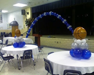 basketball banquet centerpieces. Could do it for J's soccer banquet too.