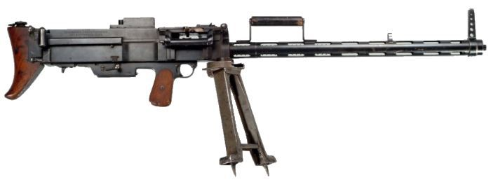 Bergmann Modell 1915 neue Art machine gun Designed by Louis Schmeisser and produced by Bergmann c.1915-18. 7x57mm Mauser belt-fed, short recoil automatic, air-cooled, adaptable for slings, bipods or tripods. Initially...