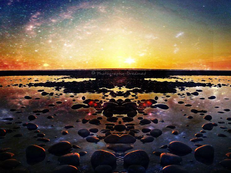 A photo of the beach near Westward Ho! near Devon, England edited through use of #Pixlr Espress photo editor. Available on #Redbubble, #clockwisedream #photography #edited #photomanipulation #beach #stars #star #starrysky #ocean #redbubble